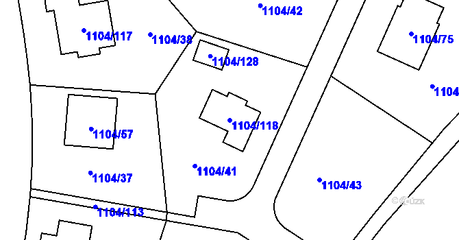Parcela st. 1104/118 v k.ú. Teplice-Trnovany, Katastrální mapa