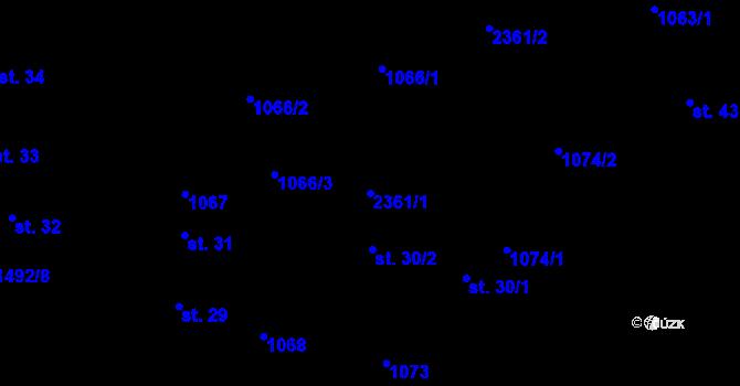 Parcela st. 2361/1 v k.ú. Tisá, Katastrální mapa