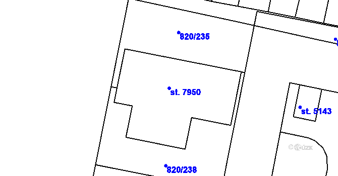 Parcela st. 7950 v k.ú. Třebíč, Katastrální mapa