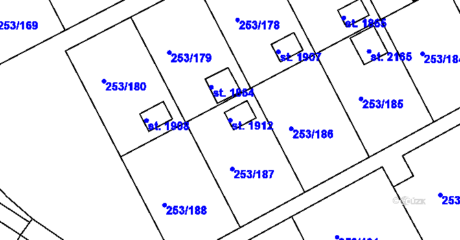 Parcela st. 1912 v k.ú. Podklášteří, Katastrální mapa