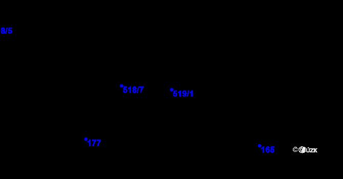 Parcela st. 519/1 v k.ú. Bozdíš, Katastrální mapa