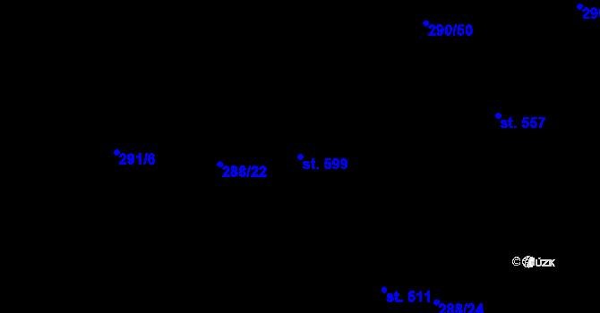Parcela st. 599 v k.ú. Uhřice u Kyjova, Katastrální mapa