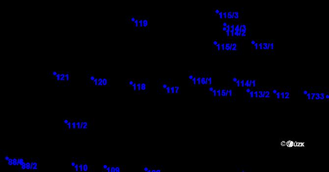 Parcela st. 117 v k.ú. Újezd u Brna, Katastrální mapa