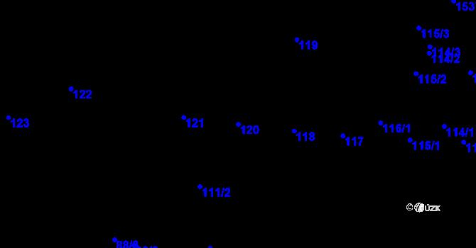 Parcela st. 120 v k.ú. Újezd u Brna, Katastrální mapa