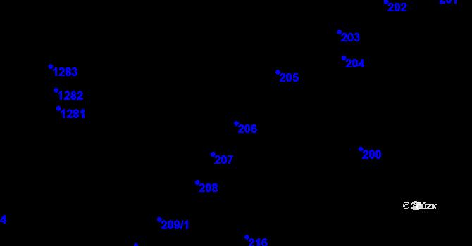 Parcela st. 206 v k.ú. Újezd u Brna, Katastrální mapa
