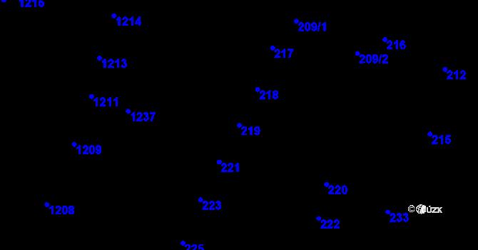 Parcela st. 219 v k.ú. Újezd u Brna, Katastrální mapa