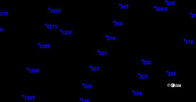 Parcela st. 221 v k.ú. Újezd u Brna, Katastrální mapa