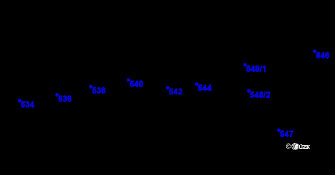 Parcela st. 542 v k.ú. Újezd u Brna, Katastrální mapa
