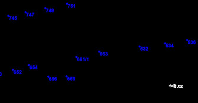 Parcela st. 663 v k.ú. Újezd u Brna, Katastrální mapa