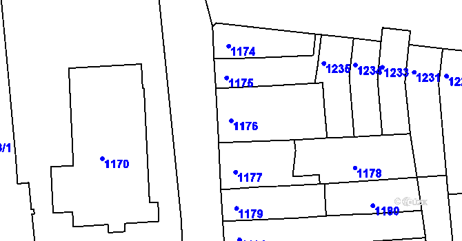 Parcela st. 1176 v k.ú. Újezd u Brna, Katastrální mapa