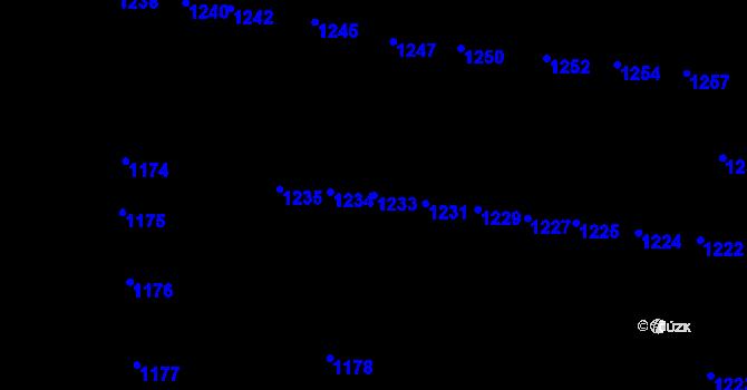 Parcela st. 1233 v k.ú. Újezd u Brna, Katastrální mapa