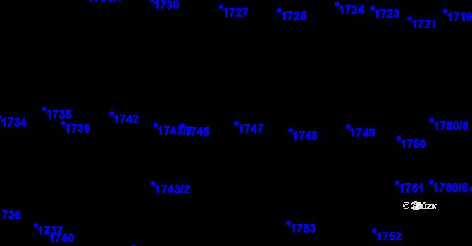 Parcela st. 1747 v k.ú. Újezd u Brna, Katastrální mapa