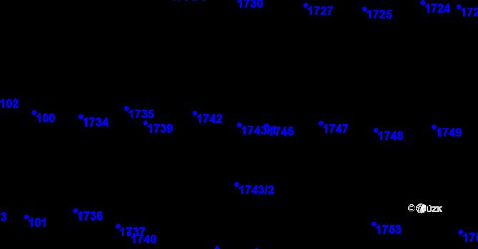 Parcela st. 1743/1 v k.ú. Újezd u Brna, Katastrální mapa