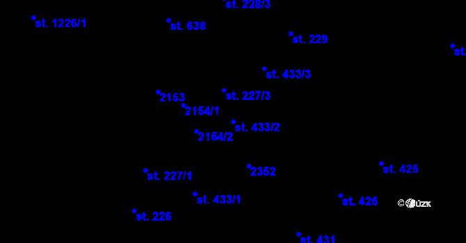 Parcela st. 433/2 v k.ú. Úpice, Katastrální mapa