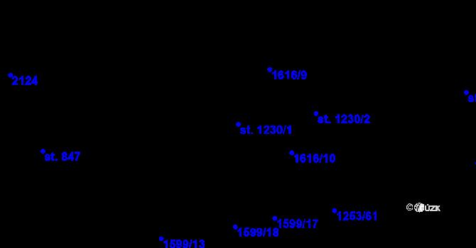 Parcela st. 1230/1 v k.ú. Úpice, Katastrální mapa