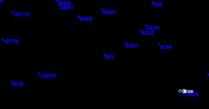Parcela st. 932 v k.ú. Ústí nad Labem, Katastrální mapa