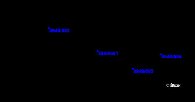 Parcela st. 4949/681 v k.ú. Ústí nad Labem, Katastrální mapa