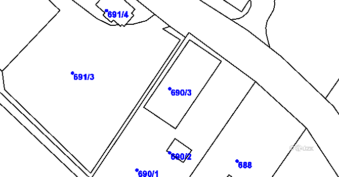Parcela st. 690/3 v k.ú. Všebořice, Katastrální mapa