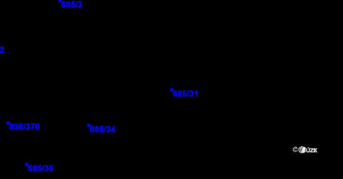 Parcela st. 685/31 v k.ú. Všebořice, Katastrální mapa