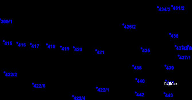Parcela st. 421 v k.ú. Krásné Březno, Katastrální mapa