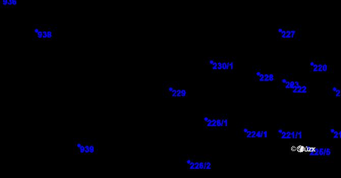 Parcela st. 229 v k.ú. Úvaly u Valtic, Katastrální mapa