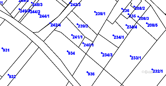Parcela st. 240/1 v k.ú. Úvaly u Valtic, Katastrální mapa