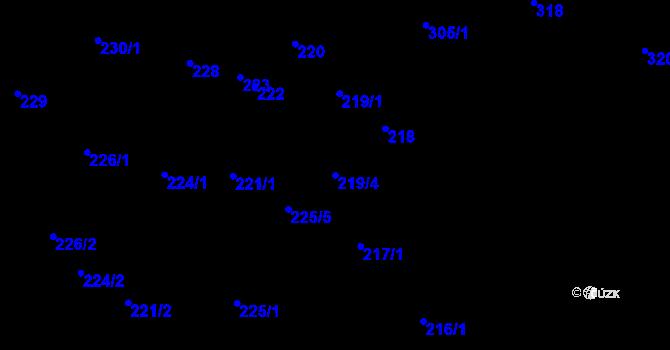 Parcela st. 219/4 v k.ú. Úvaly u Valtic, Katastrální mapa