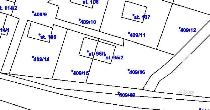 Parcela st. 95/2 v k.ú. Horní Paseky, Katastrální mapa