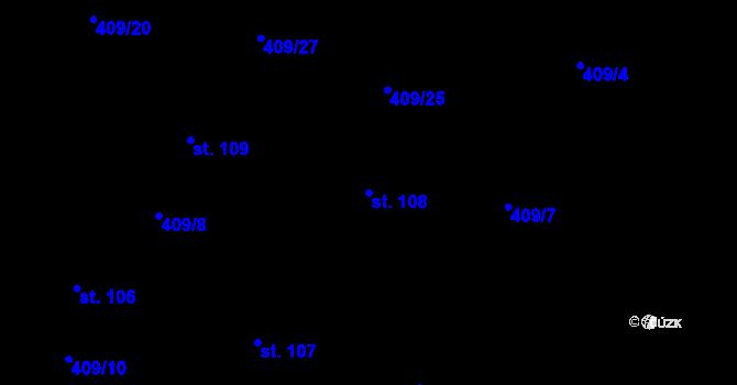 Parcela st. 108 v k.ú. Horní Paseky, Katastrální mapa