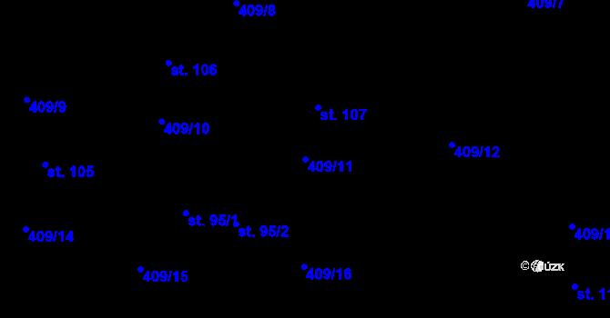 Parcela st. 409/11 v k.ú. Horní Paseky, Katastrální mapa