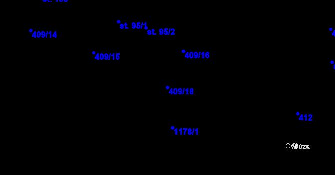 Parcela st. 409/18 v k.ú. Horní Paseky, Katastrální mapa
