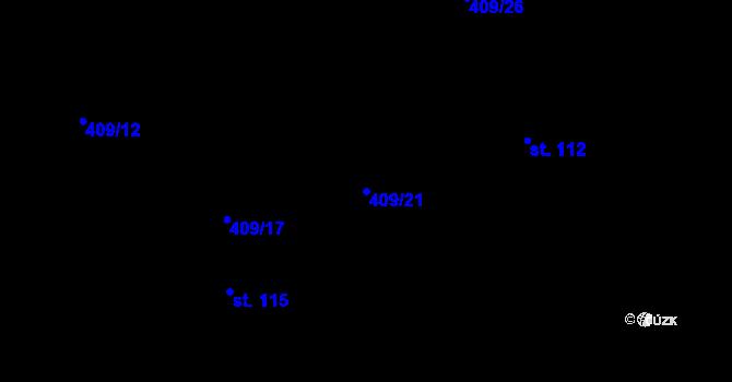 Parcela st. 409/21 v k.ú. Horní Paseky, Katastrální mapa