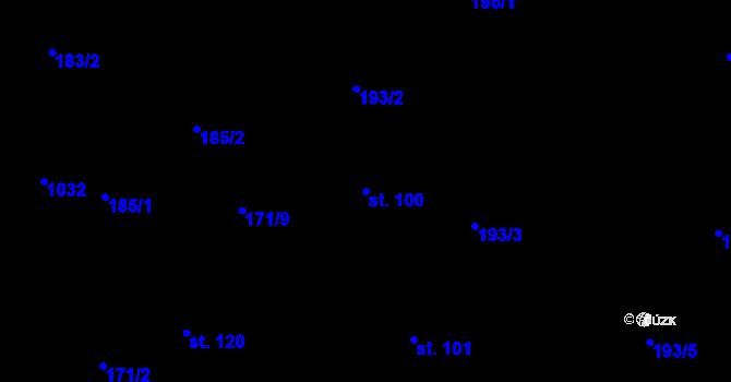 Parcela st. 100 v k.ú. Poustka u Frýdlantu, Katastrální mapa