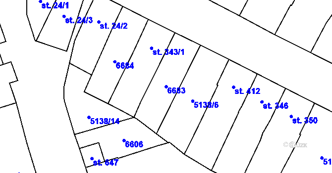 Parcela st. 6683 v k.ú. Vlasatice, Katastrální mapa