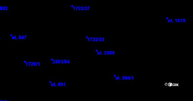 Parcela st. 2889 v k.ú. Vlašim, Katastrální mapa