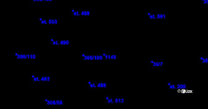 Parcela st. 1146 v k.ú. Všetaty, Katastrální mapa