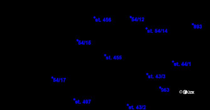 Parcela st. 455 v k.ú. Vtelno, Katastrální mapa