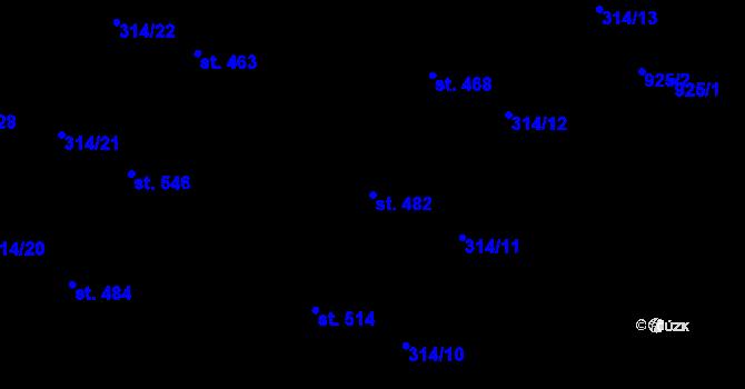 Parcela st. 482 v k.ú. Vtelno, Katastrální mapa