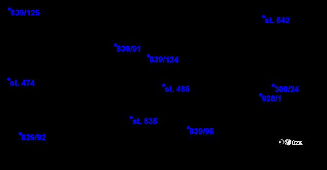 Parcela st. 485 v k.ú. Vtelno, Katastrální mapa