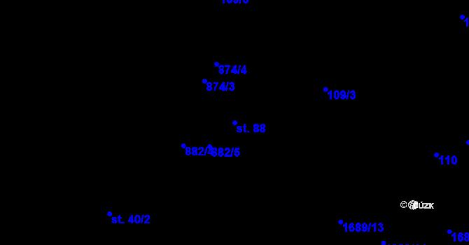 Parcela st. 88 v k.ú. Vyskytná nad Jihlavou, Katastrální mapa