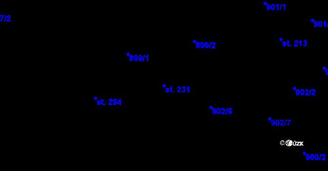 Parcela st. 231 v k.ú. Vyskytná nad Jihlavou, Katastrální mapa