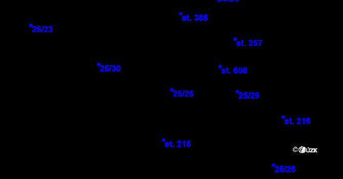 Parcela st. 25/25 v k.ú. Zdiby, Katastrální mapa