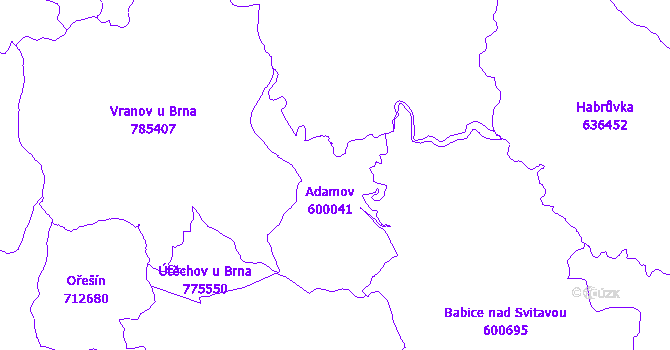 Katastrální mapa Adamov