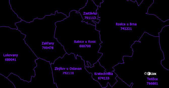 Katastrální mapa Babice u Rosic