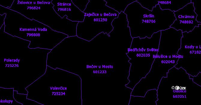 Katastrální mapa Bečov
