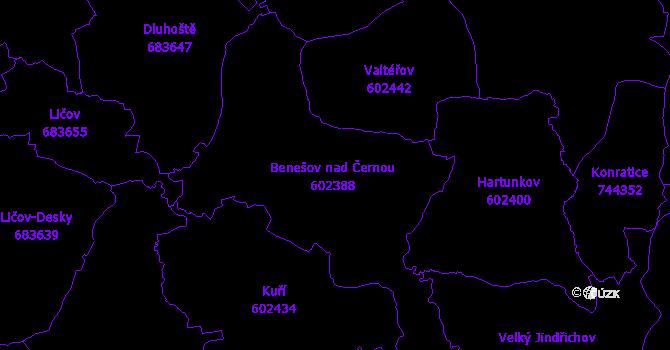 Katastrální mapa Benešov nad Černou