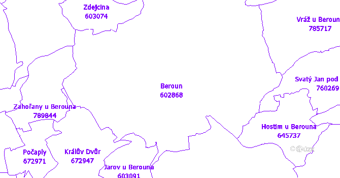 Katastrální mapa Beroun