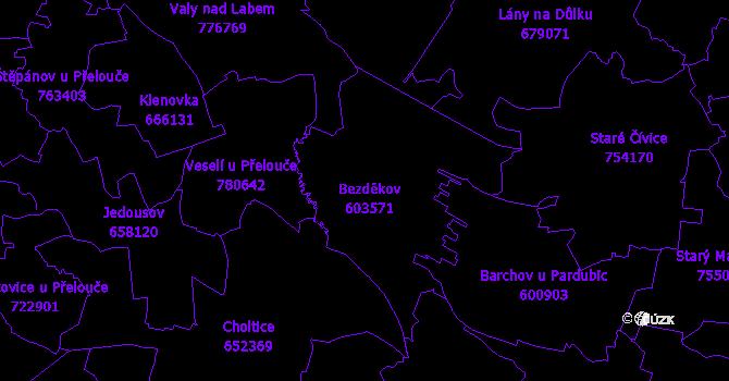Katastrální mapa Bezděkov