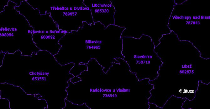 Katastrální mapa Bílkovice