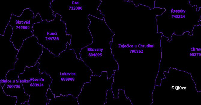 Katastrální mapa Bítovany